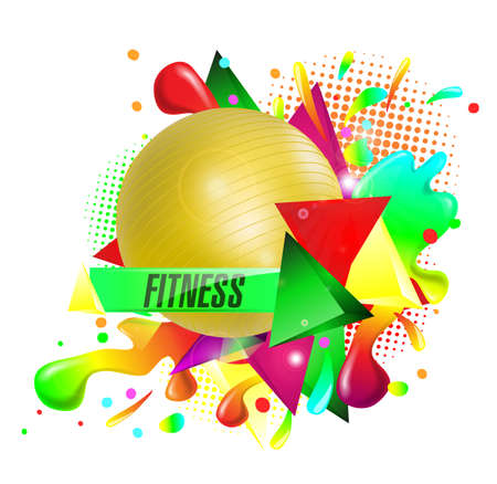 fitness text background ball