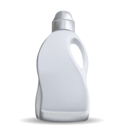 Blank white plastic bottle with a handle on a white background