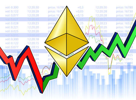 Growing chart with golden ethereum background.
