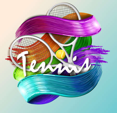 Abstract blue background sport tennis illustration.