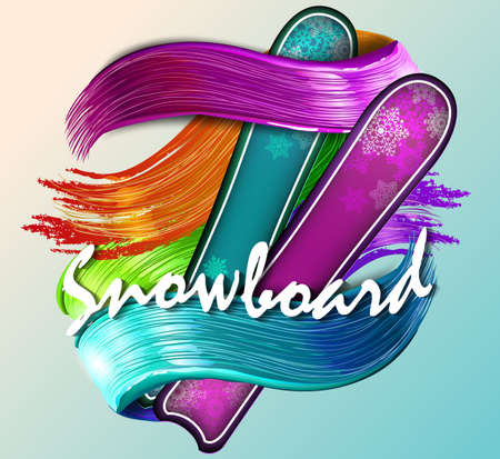 Color vector snowboarder. Vector illustration. text sport, abstract background
