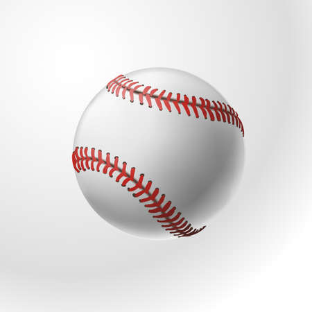 Baseball realistic ball on white background