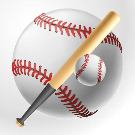 baseball realistic ball on white background Illustration