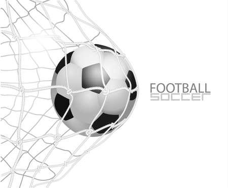 Soccer ball in net. isolated on white background, vector illustration