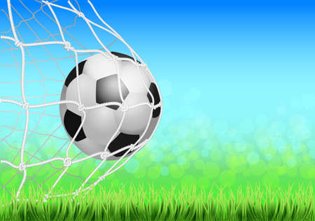 Soccer game match goal moment with ball in the net, mesh. Football ball in goal. Illustration