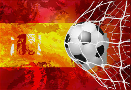 Soccer ball with a grunge flag of Spain. Illustration