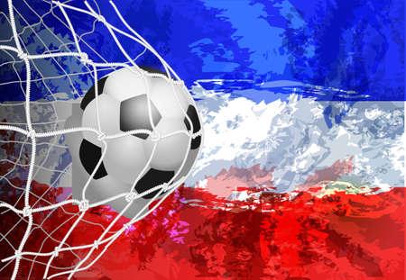Soccer ball in the net with flag Yugoslavia vector illustration of modern template design Illustration