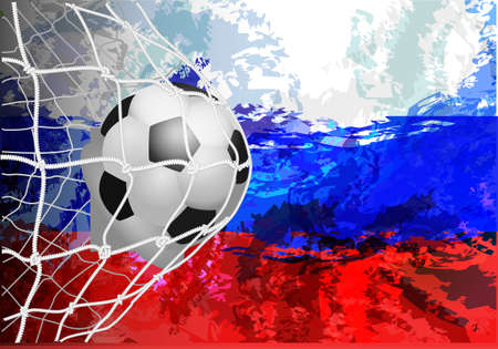 Soccer Ball with Flag of Russia. Vector illustration the background of the stadium   cup. Russia 2018. Illustration
