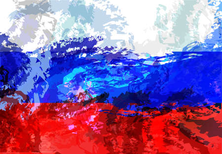Vector illustration vintage Russian flag. abstract background