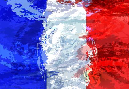 Grunge illustration of French flag. background Illustration