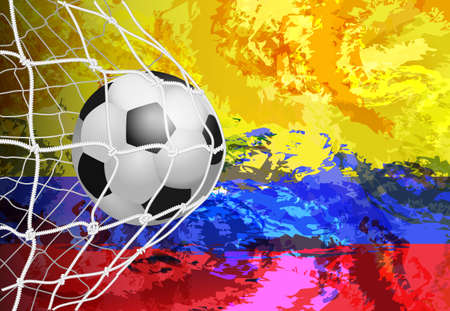 Soccer ball against the background of the Colombia flag of paint blots