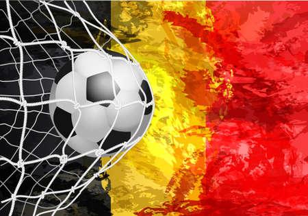 グリッドポータル、ベルギーでサッカーボール。ベルギー国旗の抽象色。