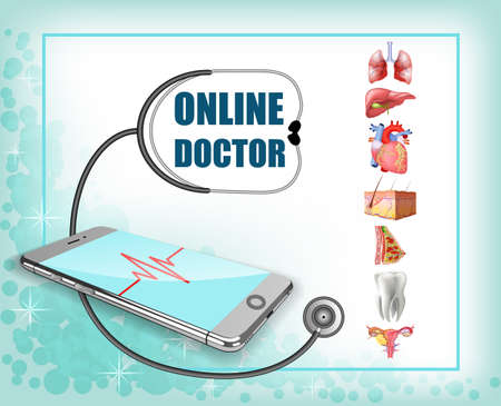 Phone, pulse line, stethoscope. Body online, the concept of remote medicine. Vector realistic illustrations Illustration