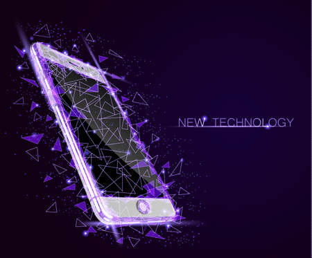 Low poly smartphone mobile touch screen display. Triangle polygonal geometric design connected dots starry sky. Illustration
