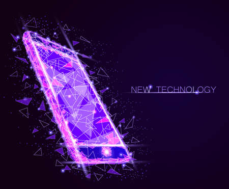 Low poly smartphone mobile touch screen display. Triangle polygonal geometric design connected dots starry sky. Vectores