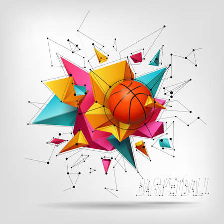 Vector 3d basketball isolated ball on abstract modern background. Realistic style