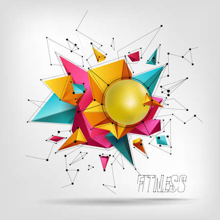 Big ball for fitness , abstaktnyh 3D background from triangle modern design Illustration