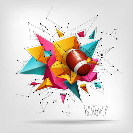 pattern design with Rugby ball, 3D realistic abstract background with triangles Illustration