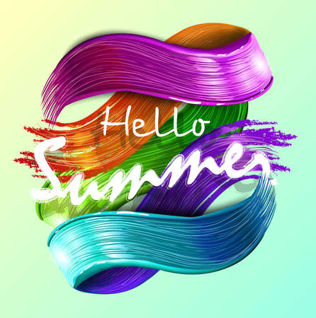 imitation multicolored background with handwritten modern calligraphy message Hello summer