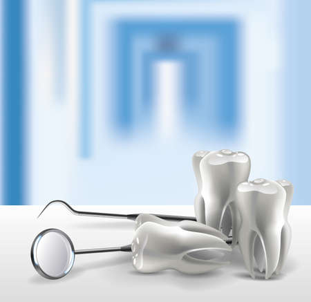 Set of dental tools realistic 3D teeth on the table close-up, on the background of a blurred hospital 일러스트