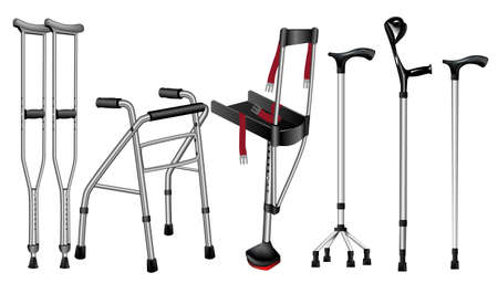 Set of orthopedic canes on white background, crutches and varieties of disabled