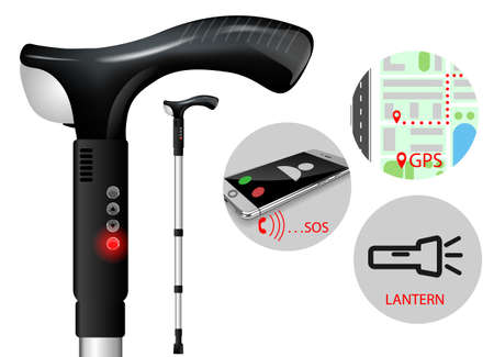 crutches icon in realistic 3D style isolated vector illustration on white transparent background. medical crutches are equipped with gps navigation to help patients 일러스트