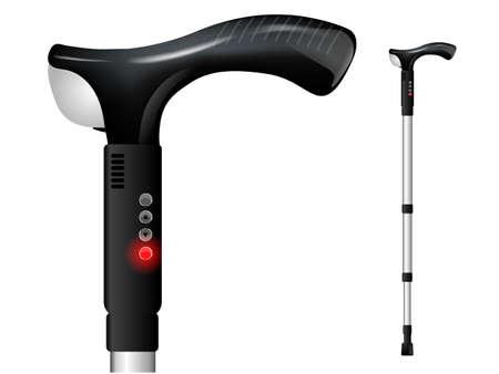 moderne orthopedische wandelstok voor pozhela mensen of mensen met een handicap, met GPS-navigatie, een zaklamp en een SOS-knop. Vector Illustratie