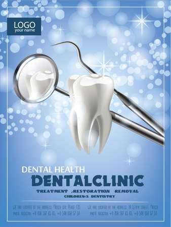 the concept of vector realistic illustration. Tooth on a blue green sparkling background. Professional dental treatment template design ads, poster or banner, dental clinic