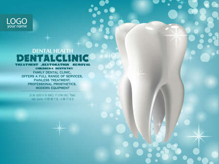 stomatology realistic 3D tooth. Business structure. the concept of vector illustration. Tooth on a blue green sparkling background. Professional dental treatment template design ads, poster or banner, 일러스트