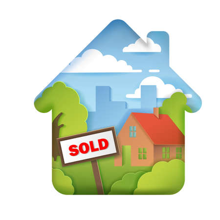 Houses for sale, realtor, house sold signs, paper style 3D volumetric layers