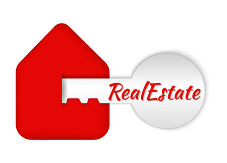 icon under the logo, real estate, house and key in paper volumetric style, realtor design layers, volume, real estate, sale, profession Vettoriali