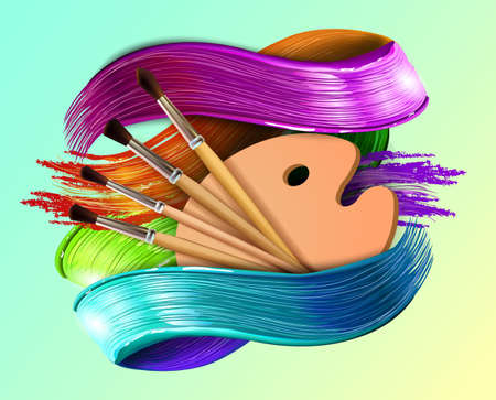Drawing tools cartoon elements colorful vector concept. Art supplies: palette, brushes, watercolor background. Drawing materials creative illustration workshop designs, 3D strokes