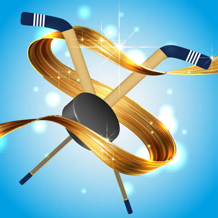 Abstract colored backgrounds, hockey, vektor, winter entertainment, gold ribbon on sky background hockey puck stick 일러스트