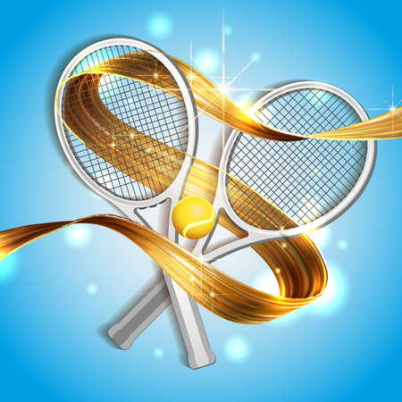 abstract blue background sport tennis racket ball vector illustration gold ribbon of liquid paint on blue sky background