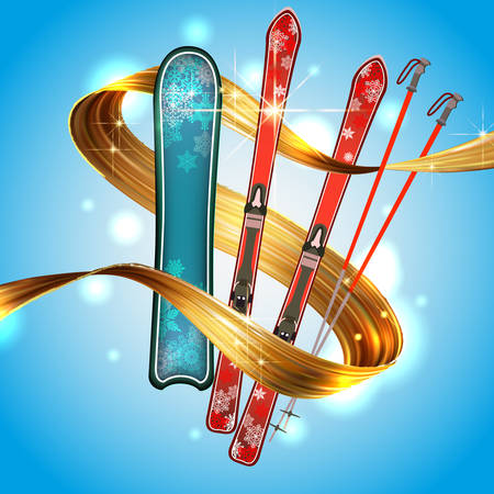Abstract colored backgrounds, ski sport text, vektor, winter entertainment, ski Board, gold ribbon on sky background