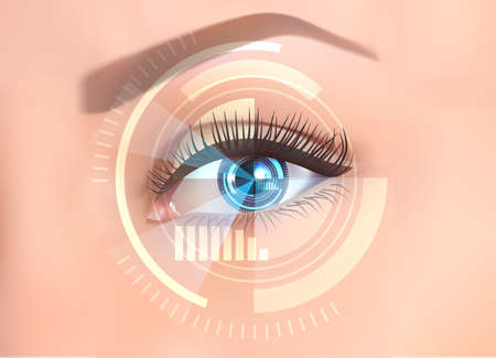 Close-up of the female eye. New technologies and futuristic concept, the future of technology