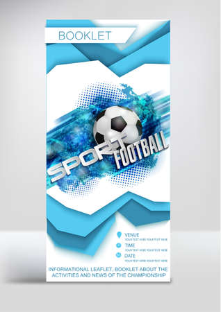 Football Competition Flyer Magazine Cover Poster Template with text, paper style volumetric layers, ball on abstract background 일러스트