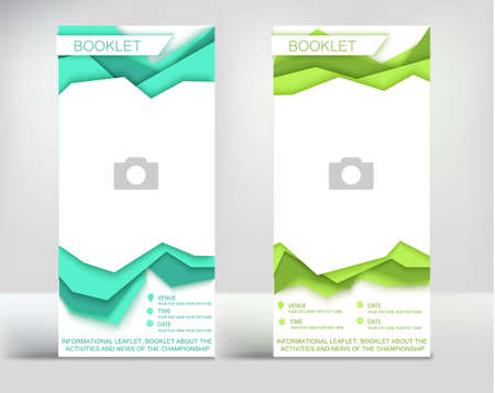 green birch leaflet, layers of paper volumetric style, booklet with finished design, with space for a photo or logo, with text modern geometry