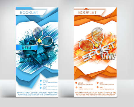 flyer tennis, racket ball, three-dimensional paper layers, the booklet finished design on the theme of sport Ilustração