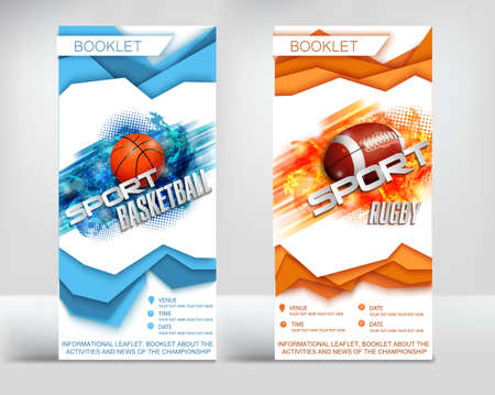 the design of the finished leaflet on the theme of sport, RCBI and basketball, the new paper style layers surround the ball on an abstract background 일러스트