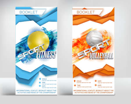 Sports brochure flyers template ready design, new volumetric style layers of sports volleyball and fitness . Vector illustration 일러스트