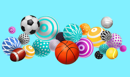 3D volumetric balls, balls of different sports, on a bright background with multi-colored objects, modern design