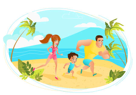 Happy family on summer vacation. Hello summer design concept. young family mom dad baby run on the beach, girl boy and man by the sea