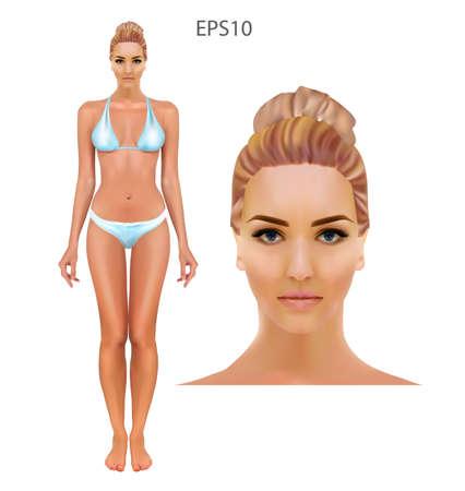 Vector illustration of woman in underwear on the white background. Illusztráció