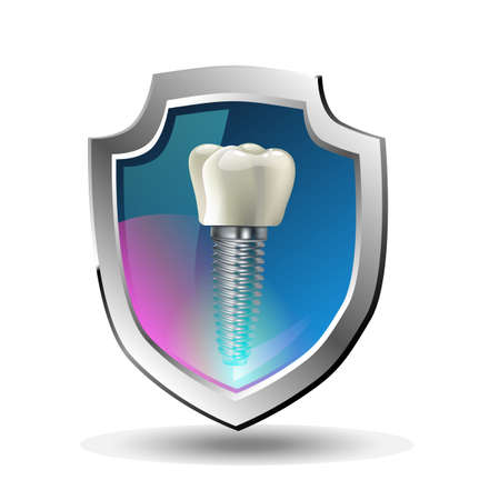 Tooth with Shield and Lights. Dental Health Concept.