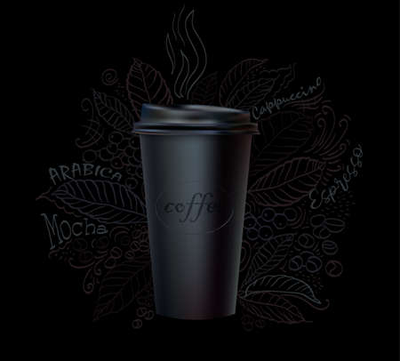 Vector Cup coffee paper hand-drawing floral ornament background
