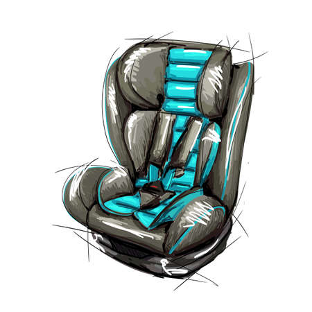 Safety car seat for baby and toddler isolated on white background. 3D surround from the hand-painted image vector illustration. Car seat 3 in 1.
