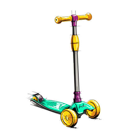 Colored roller scooter for children. Balance the bike. Eco- transport.