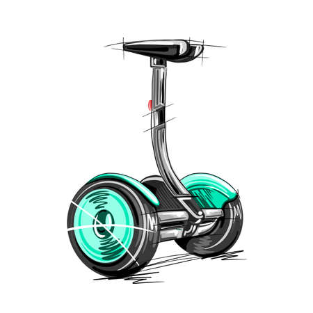 vector illustration of electric scooter with self-balancing scooter transport