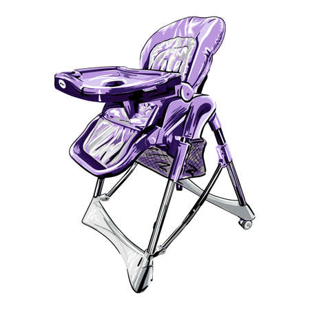 childrens chair vector illustration isolated on white background, purple hand drawn